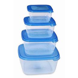 """Plast Team набор емкостей для хранения пищевых продуктов """"Polar"""" квадратных  0.46 л 0.95 л 1.5 л 2.5 л"""