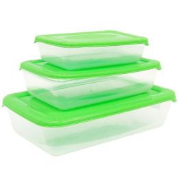 """Plast Team набор емкостей для хранения пищевых продуктов """"POLAR"""" прямоугольных   0,45 л 0,9 л 1,9 л"""