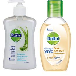 """Dettol антибактериальное жидкое мыло для рук """"Увлажнение. С алое вера и молочными протеинами"""" 250 мл, гель для рук """"Увлажняющий. С ромашкой и алоэ"""" 50 мл"""