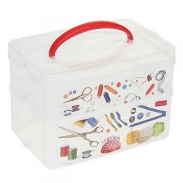 "Бытпласт коробка универсальная с ручкой и декором ""Multi box"" 2 секции 245 х 160 х 165 мм"