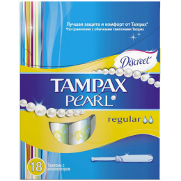 """Tampax тампоны женские """"Discreet Pearl. Regular Duo"""" гигиенические с аппликатором"""