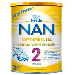 NAN Гипоаллергенный 2 OPTIPRO Сухая гипоаллергенная молочная смесь для детей с 6 месяцев, 400 г
