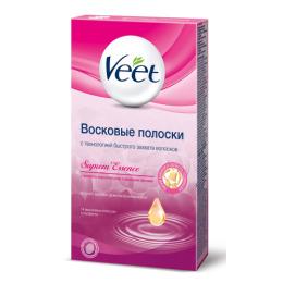 """Veet полоски """"Линия бикини и область подмышек с ароматом бархатной розы и эфирными маслами"""" для чувствительных участков тела, 14 шт"""
