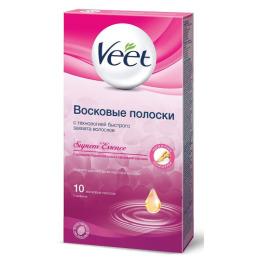 Veet полоски с ароматом бархатной розы и эфирными маслами, 10 шт