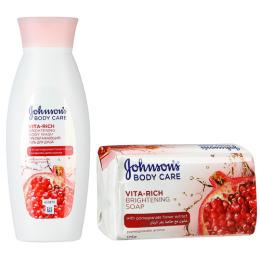 """Johnson`s гель для душа """"Body care Vita-Rich. С экстрактом Граната. Преображающий"""" 250 мл + мыло """"С экстрактом. Граната Преображающее"""" 125 г"""