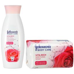 """Johnson`s гель для душа """"Body care Vita-Rich. С экстрактом Розы. Успокаивающий"""" 250 мл + мыло """"С экстрактом Розы. Успокаивающее"""" 125 г"""