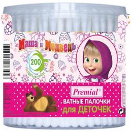 """Premial ватные палочки для детей """"Маша и Медведь"""" цилиндр"""