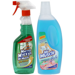 """Мистер Мускул чистящее и моющее средство для стекол с нашатырным спиртом триггер, 500 мл + чистящее средство """"Универсал. После дождя"""" 500 мл"""