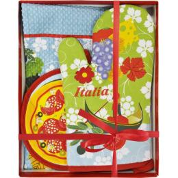 "Bonita набор ""Коллекция Путешествие""  фартук + полотенце + рукавица + прихватка ""Италия"""