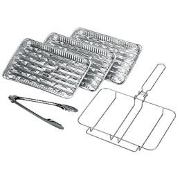 Forester комплект одноразовых решеток-гриль рамка алюминиевые сменные лотки щипцы, 3 шт