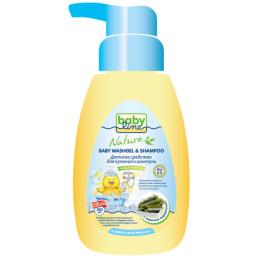 """Babyline средство для купания и шампунь """"С морскими водорослями для детей. С первых дней жизни"""" с дозатором"""