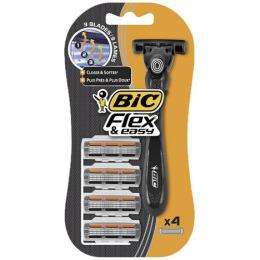 """Bic бритвенный станок """"Flex & Easy"""" с 3 лезвиями, 1 станок, 4 картриджа"""