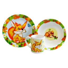 """Мфк набор """"Лисичка"""" 3 предмета тарелка 19 см, миска 18 см, кружка 240 мл"""