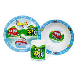 """Мфк набор """"Транспорт"""" 3 предмета тарелка 19 см, миска 18 см, кружка 240 мл"""