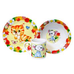 """Мфк набор """"Кошки-мышки"""" 3 предмета тарелка 19 см, миска 18 см, кружка 240 мл"""