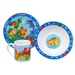 """Мфк набор """"Морские животные"""" 3 предмета тарелка 19 см, миска 18 см, кружка 240 мл"""