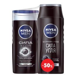 """Nivea гель для душа """"Сила угля"""" 250 мл + шампунь """"Сила Угля"""" 250 мл"""