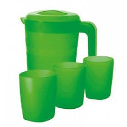 """Пластик центр кувшин для воды """"Фазенда"""" 2 л и 3 стакана по 300 мл, зеленый прозрачный"""