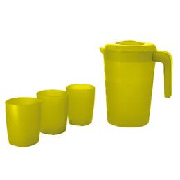 "Пластик центр кувшин для воды ""Фазенда"" 2 л и 3 стакана по 300 мл, лимон"
