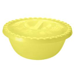 """Пластик центр миска """"Фазенда"""" 3л с крышкой, желтый прозрачный"""