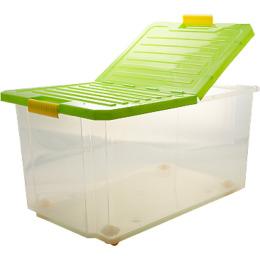 """Пластик центр ящик для хранения """"Unibox"""" 57 л на роликах, зеленый прозрачный"""