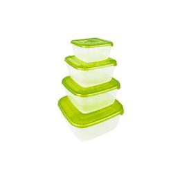 """Plast Team набор емкостей для хранения пищевых продуктов """"POLAR"""" квадратных 4 шт, 0.45л 0.95л 1.5л 2.5л, лаймовый"""