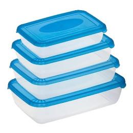 """Plast Team набор емкостей для хранения пищевых продуктов """"POLAR"""" прямоугольных 4 шт, 0.45л 0.9л 1.9л 3л, светло-розовый"""