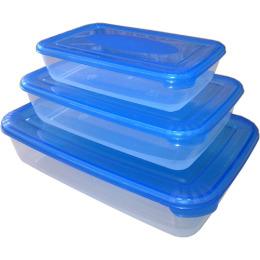 """Plast Team набор емкостей для хранения пищевых продуктов """"POLAR"""" прямоугольных  3 шт, 0.45л 0.9л 1.9л, светло-розовый"""