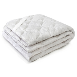 Мягкий сон наматрацник стеганый всесезонный, хлопок овечья шерсть 90х200 см, Белое на белом