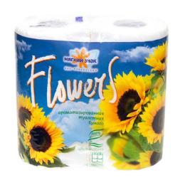 "Мягкий знак туалетная бумага ""Flowers. Подсолнухи""  с тиснением, 2-х слойная, 4 шт"