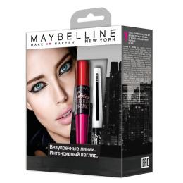 """Maybelline набор тушь для ресниц """"Push Up Drama"""" черная + лайнер для глаз """"Master Ink"""" сатин тон 1 черный"""