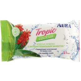 """Aura влажные салфетки """"Tropic Cocktail"""" с антибактериальным эффектом"""