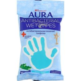 """Aura влажные салфетки """"Алоэ"""" антибактериальные стикер рука с еврохолом"""