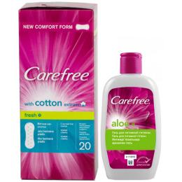 """Carefree салфетки """"Cotton Fresh. Экстракт хлопка"""" ароматизированные 20 шт + гель """"С Алоэ"""" для интимной гигиены, 200 мл"""