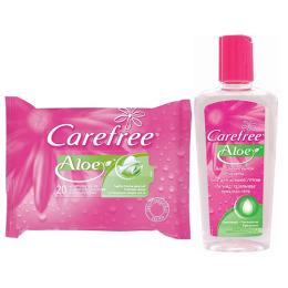"Carefree салфетки ""Aloe"" 20 шт + Carefree гель с Алоэ для интимной гигиены 200 мл"