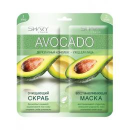 """Shary двухэтапный комплекс-уход для лица """"Avocado"""" Очищающий скраб и Восстанавливающая маска, 2х6 г"""