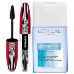 """L'Oreal тушь для ресниц  """"Крылья бабочки"""" эффект накладных ресниц интенза черная + средство для снятия макияжа с глаз, 125 мл"""