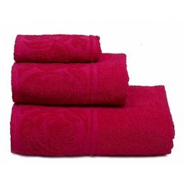 """ДМ Текстиль полотенце """"Цветок"""" махровое 70х130, малина"""