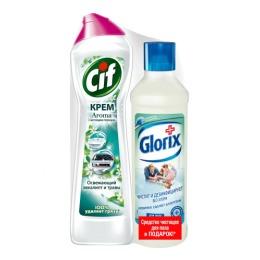 """Cif чистящий крем """"Aroma. Зеленая свежесть"""" 500 мл + Glorix чистящее средство для пола """"Свежесть Атлантики"""" 500 мл"""