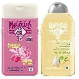 """Le Petit Marseillais шампунь для всех типов волос """"Молочко и цветок липы"""" 250 мл + гель для душа """"Малина и пион"""" 250 мл"""