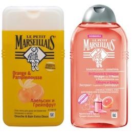 Le Petit Marseillais шампунь для тонких волос Объём и блеск Экстракт трех цветов и Грейпфрут 250 мл + гель-пена для душа Грейпфрут и апельсин 250 мл