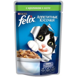 """Felix корм для кошек """"Agail"""" с кроликом, в желе, 85 г"""