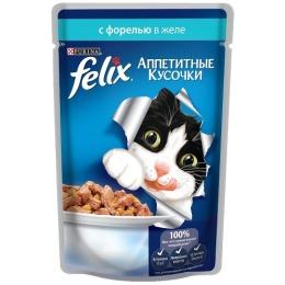 """Felix корм для кошек """"Agail"""" с форелью, в желе, 85 г"""