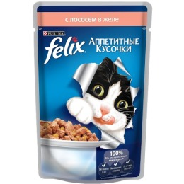 "Felix корм для кошек ""Agail"" с лососем, в желе, 85 г"