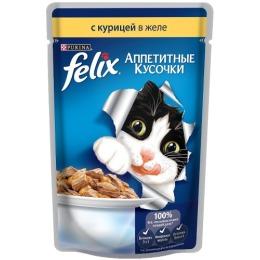 "Felix корм для кошек ""Agail"" с курицей, в желе, 85 г"