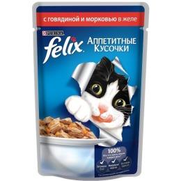 """Felix корм для кошек """"Agail"""" с говядиной и морковью, в желе, 85 г"""