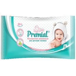 Premial салфетки влажные для детской гигиены неароматизированные, 40 шт