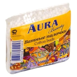 Aura ватные палочки пакет, 200 шт