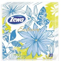 """Zewa салфетки """"Эксклюзив Декор бирюзовые цветы"""" 3 слойные 33x33 см"""