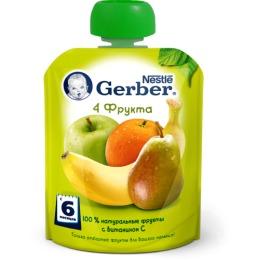 "Gerber пюре ""4 фрукта"" с 6 месяцев, пауч"